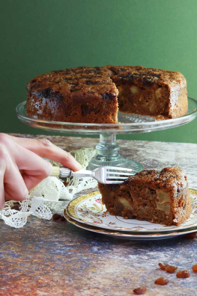 Vegan Spiced Apple and Sultana Cake with Caramelised Top